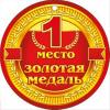 Медаль картон '1 место Золотая медаль'  d-100 мм