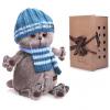 BudiBasa Басик в голубой вязаной шапке и шарфе 30 см Ks30-105