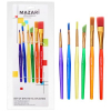 Кисти в наборе 06шт MAZARI синтетика №1,2,3,4,5,6  M-5147  плоские ручки пласт разноцветные