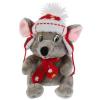 Мульти-пульти Мышка серая в ушанке, красный шарф. 15см без чипа в пак.