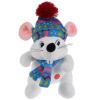 Мульти-пульти Мышка белая в шапке и шарфике 15см, муз. чип в пак.