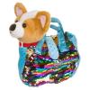 Bondibon МИЛОТА Собачка ВВ3969  чихуахуа 19 cм в сумке с пайетками c ошейником и поводком